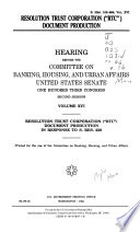 Hearings Relating to Madison Guaranty S L and the Whitewater Development Corporation  Washington  DC Phase  Resolution Trust Corporation   RTC   document production in response to S  Res  229