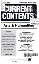 CURRENT CONTENTS ARTS & HUMMANITIES JUNE 7, 1993 VOLUME 15 NUMBER 12
