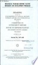 Biological warfare defense vaccine research and development program