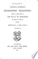 Charles Kemble s Shakspere Readings  Henry V  Macbeth  Coriolanus  Richard III  Henry VIII Book