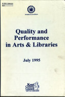 Quality And Performance In Arts Libraries July 1995 Book PDF