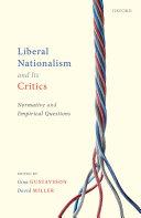 Liberal Nationalism and Its Critics Pdf/ePub eBook