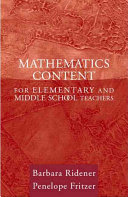 Mathematics Content for Elementary and Middle School Teachers