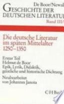 Die deutsche Literatur im späten Mittelalter