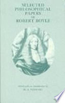 Selected Philosophical Papers of Robert Boyle