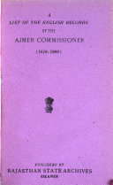 A List Of The English Records Of The Ajmer Commissioner 1818 1899