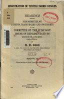 Registration of Textile Fabric Designs  May 21  1947  Serial No  12  pt  2  Feb  18  1948  Serial No  13