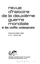 Revue d'histoire de la deuxième guerre mondiale et des conflits contemporains