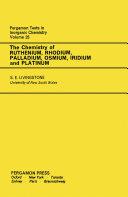 The Chemistry of Ruthenium, Rhodium, Palladium, Osmium, Iridium and Platinum Pdf/ePub eBook