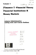 Finance: Financial theory, financial institutions & money markets