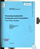 Promoting Sustainable Production And Consumption Book PDF