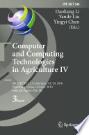Computer And Computing Technologies In Agriculture IV