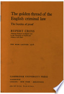 The Golden Thread Of The English Criminal Law