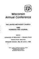 Wisconsin Annual Conference  the United Methodist Church     Yearbook and Journal