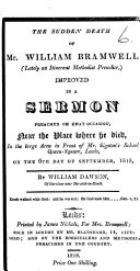 Pdf The Sudden Death of Mr. William Bramwell ... Improved in a Sermon Preached ... on the 6th Day of September, 1818