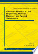 Advanced Research in Civil Engineering, Materials, Machinery and Applied Technologies