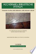 Accademie & Biblioteche d'Italia 1-2/2012