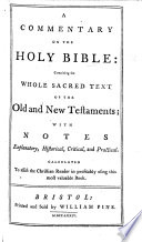A Commentary on the Holy Bible: Containing the Whole Sacred Text of the Old and New Testaments; with Notes, Etc Pdf/ePub eBook