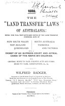 The  land Transfer  Laws of Australasia