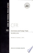 Code Of Federal Regulations Title 15 Commerce And Foreign Trade Pt 800 End Revised As Of January 1 2012