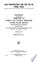 Acid Precipitation and the Use of Fossil Fuels Book