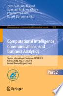 Computational Intelligence  Communications  and Business Analytics