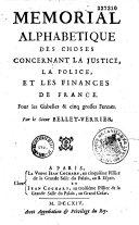 Mémorial alphabétique des choses contenant la justice, la police et les finances de France