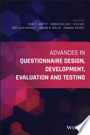 Advances in Questionnaire Design  Development  Evaluation and Testing Book
