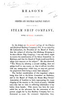 Reasons against conceding to the Chester and Holyhead Railway Company power to become a steam ship company with limited liability   Issued by the Association