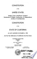 Constitution of the United States   Constitution of the State of California as Last Amended     Book PDF