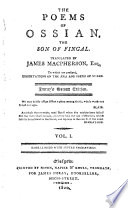 The Poems Of Ossian The Son Of Fingal Translated By James Macpherson Esq To Which Are Prefixed Dissertations On The Ra And Poems Of Ossian Imray S Second Edition Etc