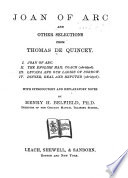 Joan of Arc  and Other Selections from Thomas De Quincey