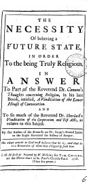The Necessity of Believing a Future State  in Order to the Being Truly Religious