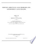 Certain Aspects of Land Problems and Government Land Policies
