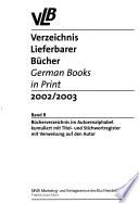 Verzeichnis lieferbarer Bücher