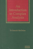 An Introduction to Complex Analysis Book