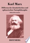 Differenz der demokritischen und epikureischen Naturphilosophie  : Doktordissertation