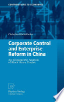 Corporate Control And Enterprise Reform In China Book PDF