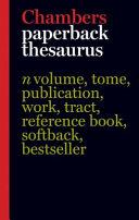Chambers Paperback Thesaurus Book PDF