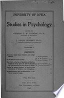 University of Iowa Studies in Psychology