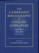 The Cambridge Bibliography Of English Literature 1800 1900