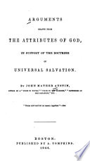 Arguments Drawn from the Attributes of God