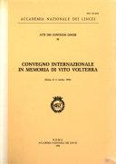Convegno Internazionale In Memoria Di Vito Volterra