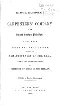 An Act to Incorporate the Carpenters  Company of the City and County of Philadelphia
