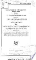 Inventory of Information Resources for the U S  House of Representatives