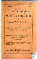 C  and H  Gloyn s Monthly Price List of British and Foreign Postage Stamps  containing prices and descriptions of all stamps issued to the present time  Oct  1866  Feb  April  July  Dec  1867  Jan   June  Sept   Oct  1868  June  Oct   Nov  1869  Jan  1870
