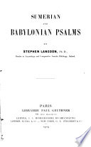 Sumerian and Babylonian Psalms