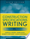 Construction Specifications Writing