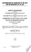 Reauthorization of Foundation on the Arts and the Humanities Act of 1985 Book PDF