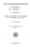 Chemical Character of Ground Waters of the Northern Great Plains